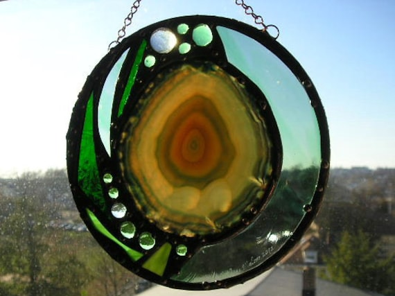Round Stained Glass with Agate, Green Glass and Gems - Abstract - OOAK - Handcrafted - Made in USA - Art - Decorative Arts - Glass