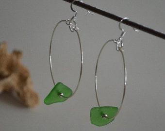 Seashell Jewelry  ... Green Glass Hoop Earrings (0567)