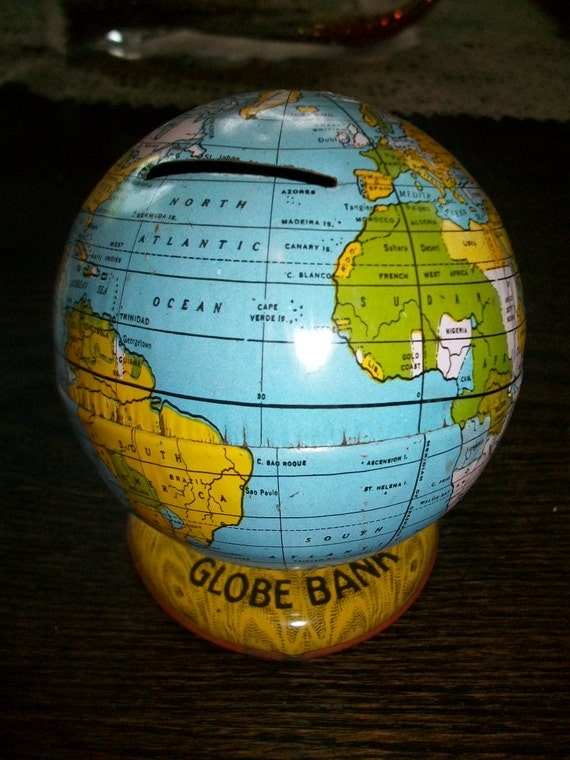 Vintage 50s Toy Globe Bank by Chein