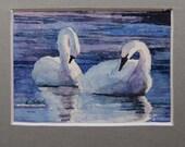 watercolor ORIGINAL Trumpeter Swan 10 swan lake ACEO watercolour