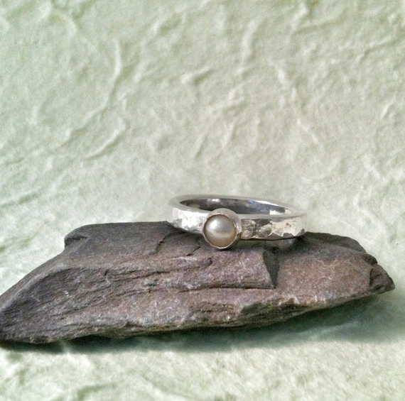 Pearl Ring - Sterling Silver and Pearl Ring - Handmade Pearl Ring