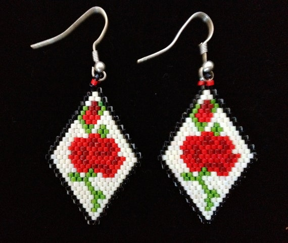 Items Similar To Native American Beaded Earrings Red Roses