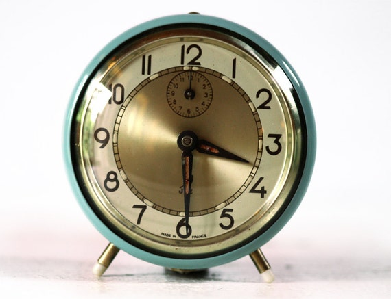 Beautiful  Vintage French JAZ  Alarm clock - two colors - Blue - turquoise with gold dial