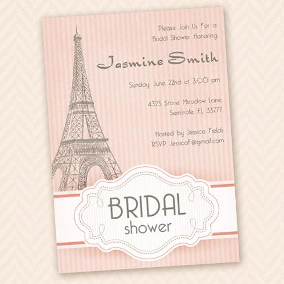 Paris bridal shower invitation for Paris themed invitations bridal shower