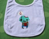 Sweet Zombie baby embroidered bib