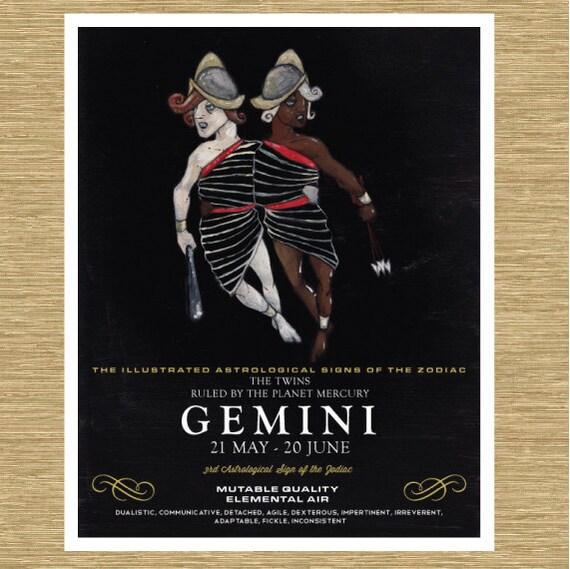 """Illustrated Zodiac Gemini the Twins 8"""" x 10"""""""