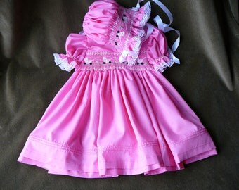 Hand Smocked Girls Dresses And Bonnet  ......Baby Carriages.....By The My Collection 2