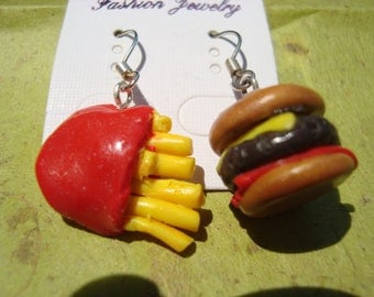 Cheeseburger and French Fries Polymer Clay Earrings