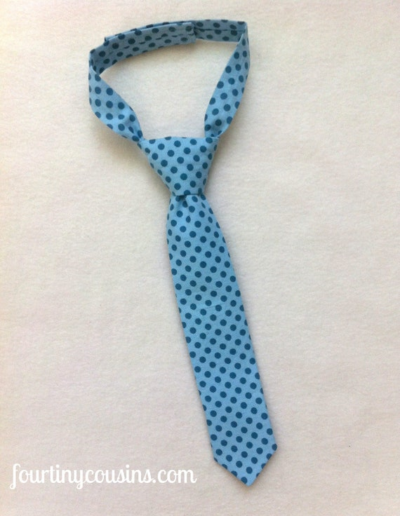 Baby Boy - Baby boy photo prop - baby neck tie - Blue Polka Dot - photo prop - cake smash - toddler tie - ready to ship - fourtinycousins