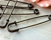 10 x 50 mm Antique Bronze Safety Pins (.tc)