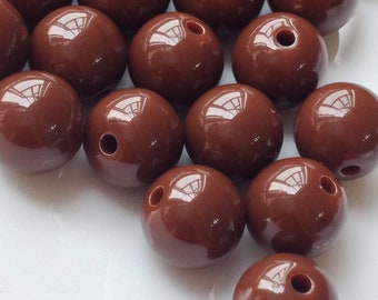 10 mm Opaque  Brown Color Round Shape Candy Acrylic Beads. (.ma)