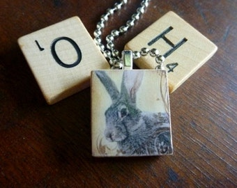 Scrabble Tile Pendants-Key Chain-Magnet-Wine Glass Charm-Rabbits-Bunnies-Animals-(A125)  Buy 3 Get 1 Free on all Scrabble Tiles