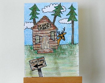 ORIGINAL CAMPING ACEO - Colored Pencil and Ink Drawing, Humorous Artist Trading Card, Hunting Camp Art, Miniature Art