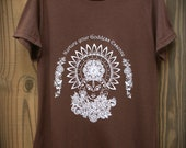 Nurture your Goddess Essence Women's size Small Screenprinted Organic Blend Tshirt - Handmade by UniverSoulWear