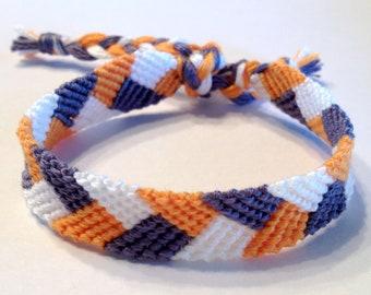 "Orange, Grey & White ""Braid"" Friendship Bracelet"