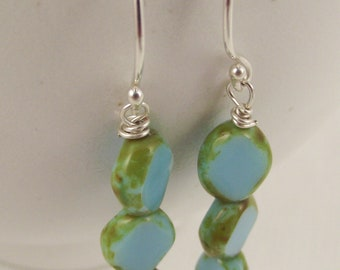 50% off Black Friday Sale! Earrings with Aqua colored Glass beads on hand formed Sterling Silver French wires
