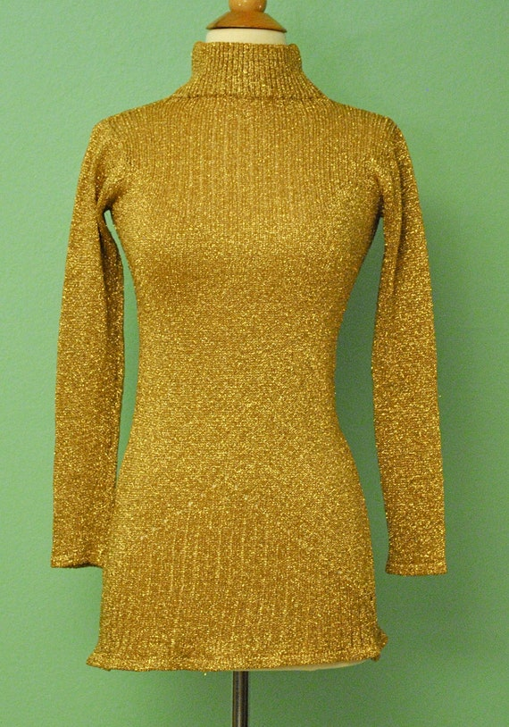 Vintage Gold Lurex Sweater Blouse - Great for Mad Men Rockabilly Pinup Look - 1950s 1960s 50s 60s Long Sleeve
