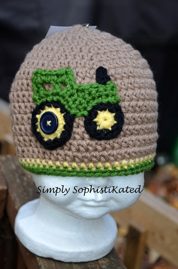 Crochet TRACTOR HAT with earflaps