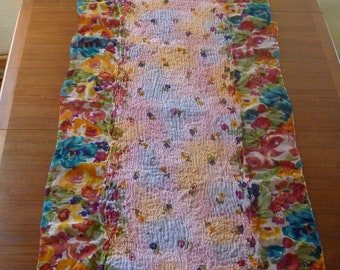 Nuno Felted Table Runner - Bright Wool on Floral Print - Spring Flowers
