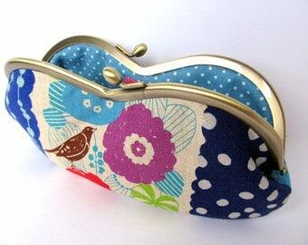 Glasses case Sunglass case Kiss lock purse Metal frame purse Bird blue Lime Purple