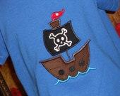 Pirate Ship Appliqued Tshirt