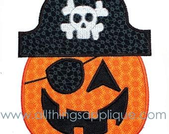 Pirate Pumpkin Applique - 3 Sizes - Halloween Applique Design - INSTANT DOWNLOAD