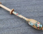 Painted Bruge Lace Bobbin - spiral of fir branches, flowers, berries and leaves