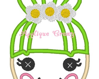 Doll Face Applique design (green hair)