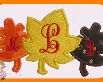 Fall Leaves trio Applique design