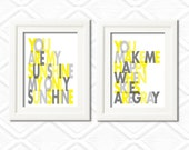 You are my Sunshine Set of 2 - Wall art print - 8x10- gray and yellow -Choose your colors - nursery art