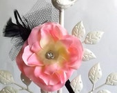 Stretch Headband: Pink Petals, Black Tulle, Black Feathers, Pretty Jeweled Button