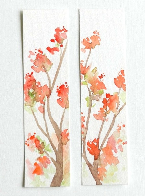 Set of Two Original Watercolor Bookmarks, Spring Blossoms