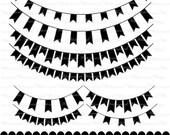 Banner clip art  black digital clipart graphics ribbon bunting scrapbook black : c0248 v001
