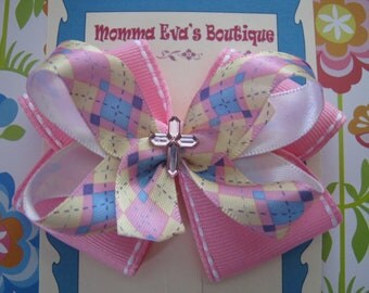 Momma Eva's --My Lovely Pink Cross Boutique Bow// Layered Style //  3 inch Design // Ready To Ship