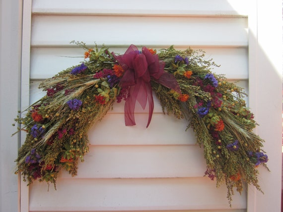 Fall Dried Flower Arch Swag Arrangement Mixed Flowers