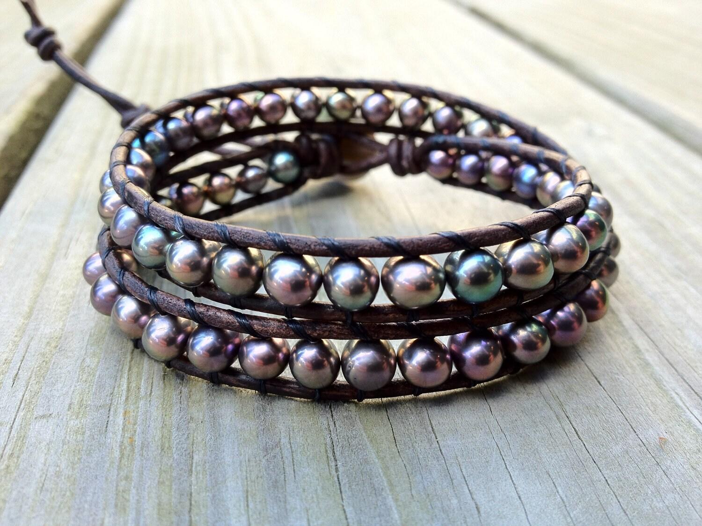 freshwater pearl leather wrap bracelet double wrap bracelet. Black Bedroom Furniture Sets. Home Design Ideas