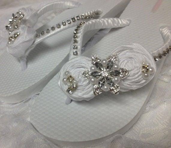 White Bridal Flip Flops / Wedding Rolled Flower Flip Flops