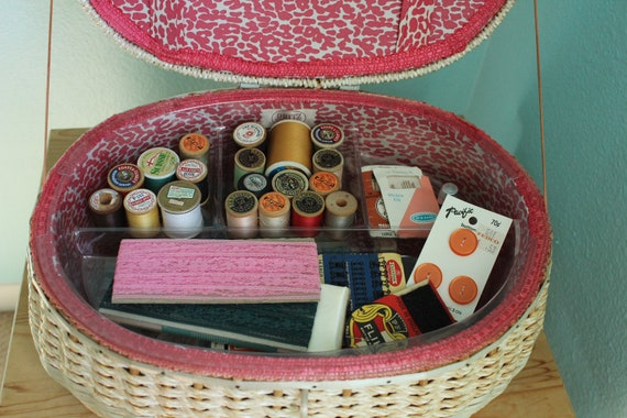vintage pink leopard print sewing basket with notions