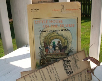 1 Vintage Little House on the Prairie Series Bookmarks, Little House on the Praire, One of a Kind Bookmark, Vintage Book Pages