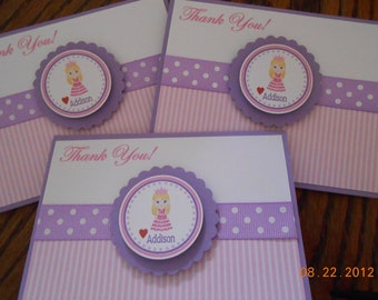 Princess Thank You Cards-Princess Birthday Thank You Cards-Princess Thank You Notes-Girl's Thank You Cards