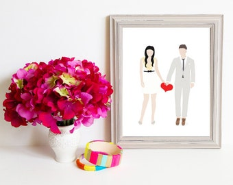 Though Very Humble : Custom Lovebirds Heart to Heart 8x10 Portrait Illustration