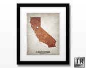California State Map Art Print - Original Custom Map Art Print Available in Multiple Size and Color Options