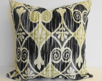 Colonial Williamsburg Collection, IKAT Decorative Pillow Cover, Sheraton Ikat, Black, Ebony, Sage Green, 16 x 16, Cushion Cover