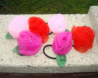 Pretty chiffon rose ponytail holders