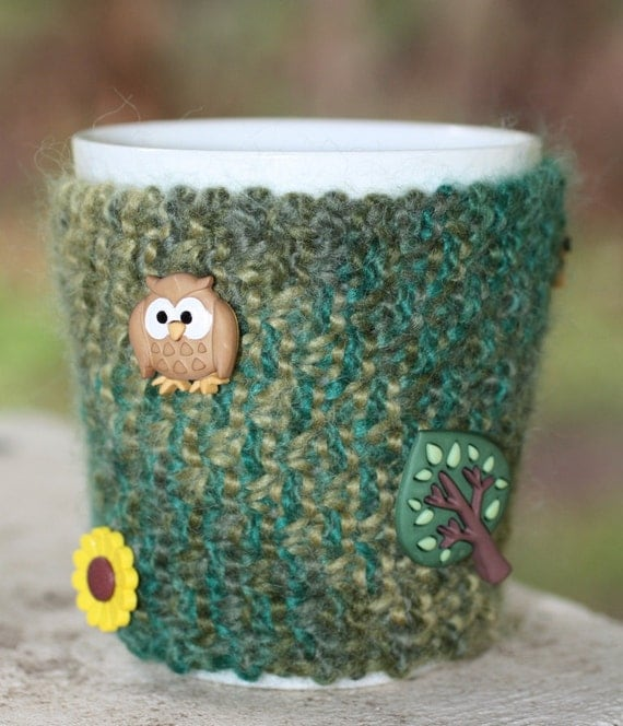 Hand knitted mug cozy/cosy mug hug coffee sleeve variegated greens with novelty buttons