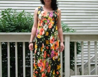 Vintage Floral maxi dress with bold colors ala 1970s