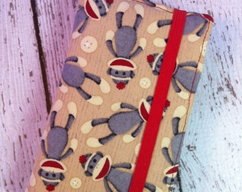Sock Monkey print iPhone 3, 4, 4S, 5, iPod Touch 4G, 5 wallet with removable gel case