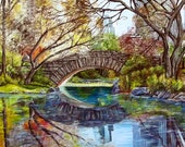 Gapstow Bridge Central Park New York original oil painting manhattan landscape  CANVAS PRINT of original 16x24
