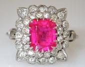 Antique 18K White Gold Diamond Natural Pink Spinel Engagement Ring