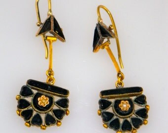 Antique 18K Gold Jet  Pearl Mourning Earrings